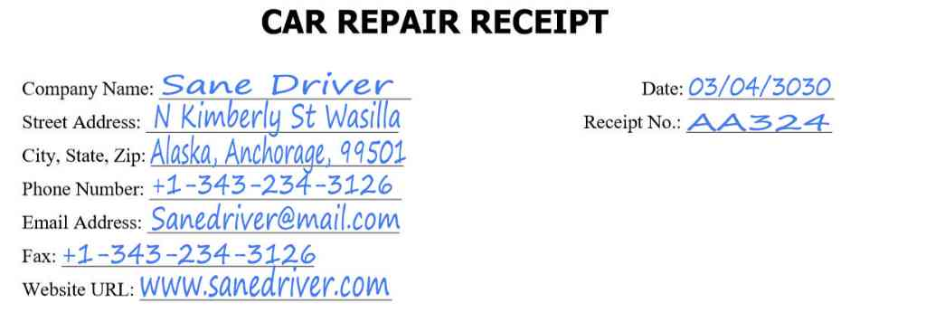 fillable auto repair receipt