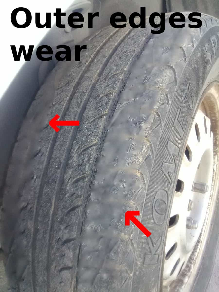 What would cause a tire to wear on the outside?